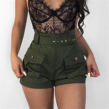 Summer Women Shorts With Belt Casual Pocket High Waist