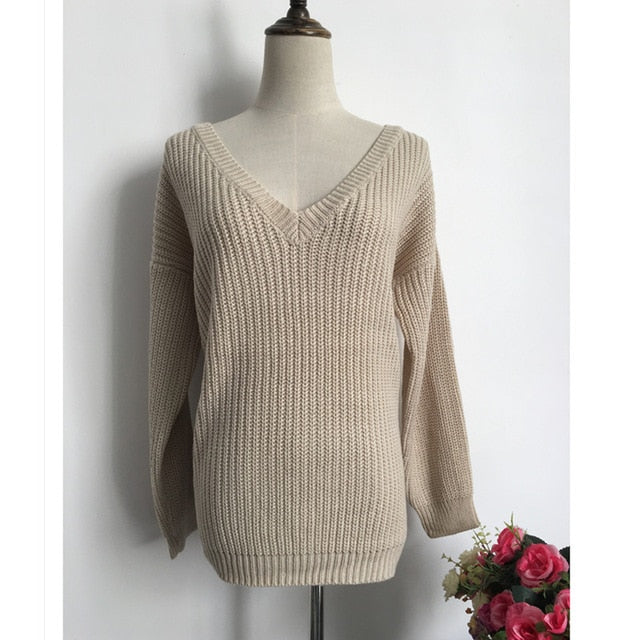 New Sexy Backless V-neck Sweater Women