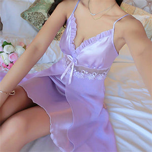 Deep V Neck Women Satin Nightgown Sexy Lace Sleepwear