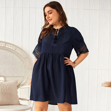 New summer plus size knee length dress for women large short sleeve