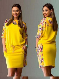 Plus size dresses for women round neck sleeve print