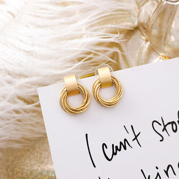 Simple New Gold Metal Multi-layer Circle Winding Geometric Round Small Stud Earrings for Women