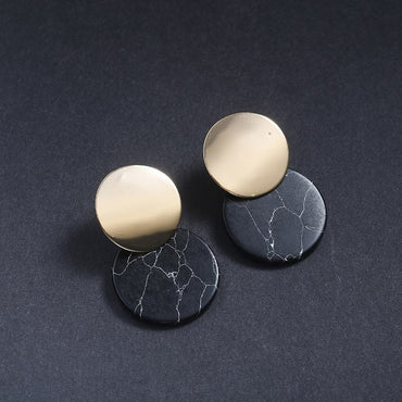 New Fashion Stud Earrings Black White Stone Geometric