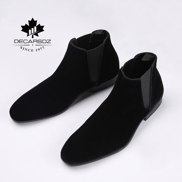 Chelsea Boots Men Brand Flock Casual Boots Fashion Design New Spring