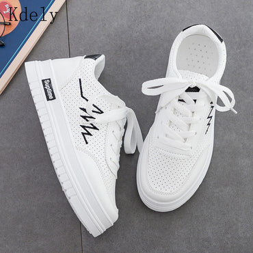 New Women Sneakers Fashion Breathable PU Leather Platform White