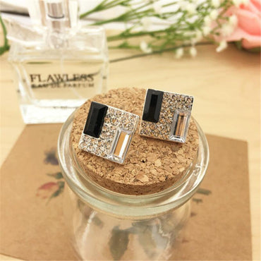 ewelry Black White Crystal Dazzling Rhinestones Temperament Square Stud Earrings For Women