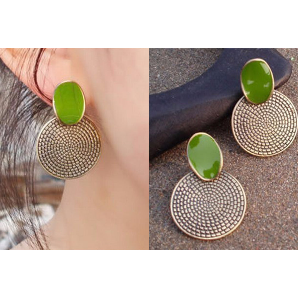 Women Fashion Vintage Green Enamel Stud Earrings