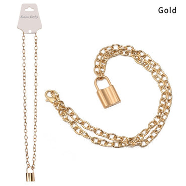1Pcs 2020 New Fashion Punk Jewelry Gold Silver Color PadLock Pendant Necklace