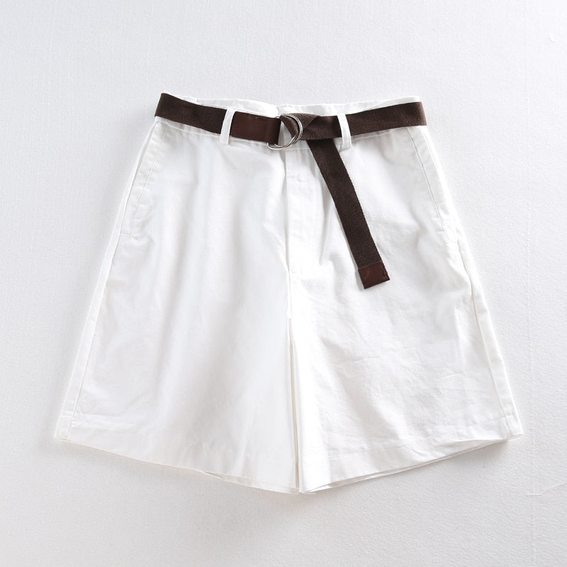 Jielur Shorts All-match 4 Solid Color Sashes Casual Shorts Women A-line High