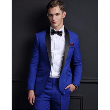 2020 Fashion Royal Blue Velvet New Men Suit