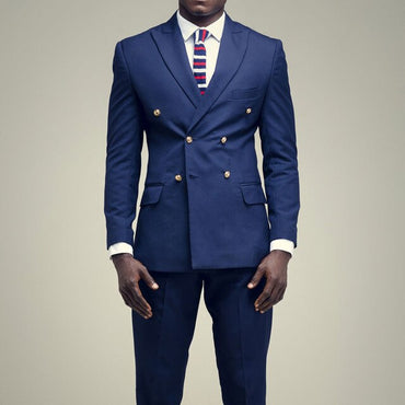Dark Blue Double Breasted Tailored Slim Fit men suit