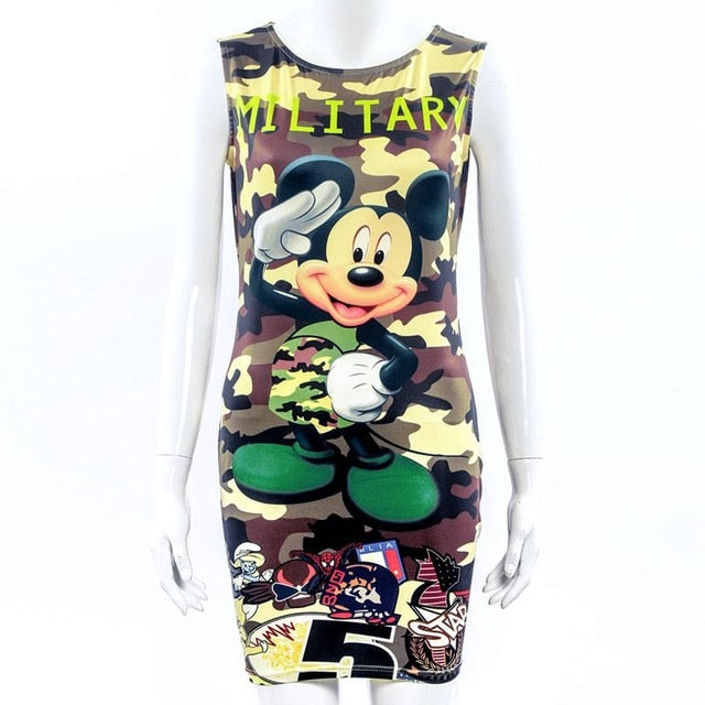 New Summer Fashion Women Dress Cute Cartoon Best Selling