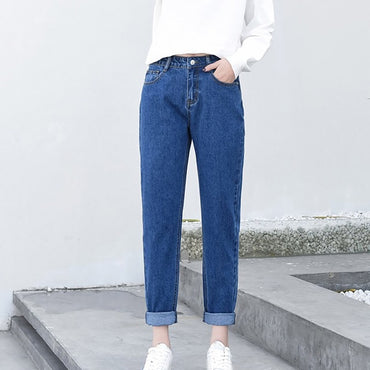New Ladies Jeans Slim Pencil Pants Vintage Mom High Waist