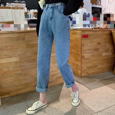 Spring autumn Korean version women fashion casual baggy high-waisted jeans cheap wholesale