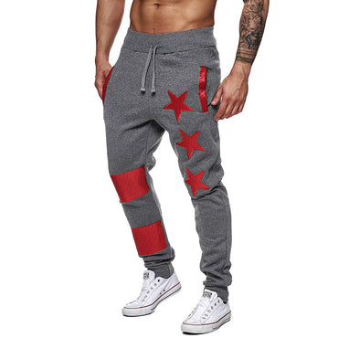 New Men Print Sport Sweatpant Casual Striped Patchwork Joggers Trouser