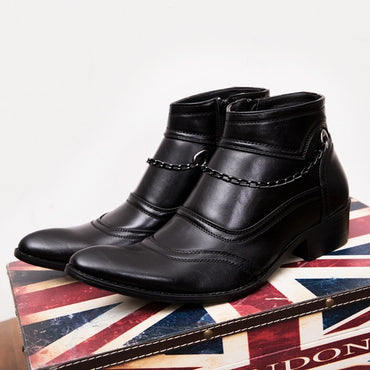 New Flat heel men boots Genuine Leather