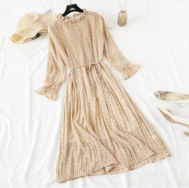 Women Print Pleated Chiffon Dress 2020 Spring Summer Best Selling