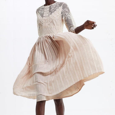 New Spanish Design O Neck Lace Patchwork Pleated Fairy Dress Women Best Selling