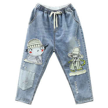 Women Jeans 2020 Summer Harem Pants Cartoon Embroidery Elastic Waist