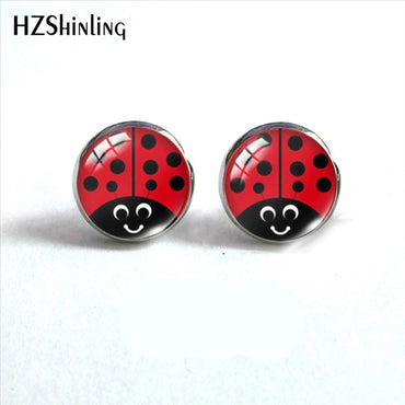 New Arrival Ladybug Insect Stainless Steel Plated Earrings