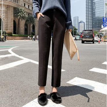 New Women Elastic Woolen Pant Female Plus Size Casual Trousers