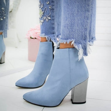 European Pointed Toe Girl Boots Flock Solid Woman Solid Boots