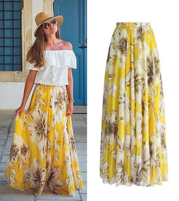 New Women Fashion Floral High Waist Chiffon Maxi Skirts