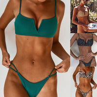 Mid Waist New Summer Women Two Pieces Bikini Set Solid High Quality