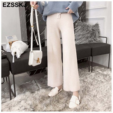 New casual straight pants  women female drawstring loose high waist
