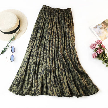 Retro Leopard Print Pleated Skirts Women New Midi Long Korean Elegant High Waist