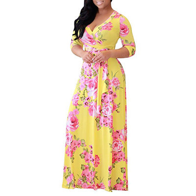 Women's Long-sleeved V-neck Waist Dress Best Selling