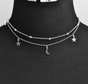 New fashion jewelry 2 layer star moon choker necklace