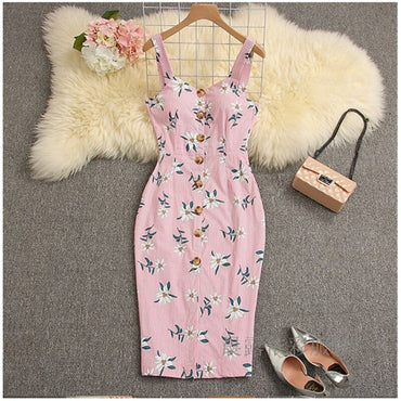 New Womens Sexy Deep V neck Dress Floral Bodycon Party Dress High Waist Best Selling
