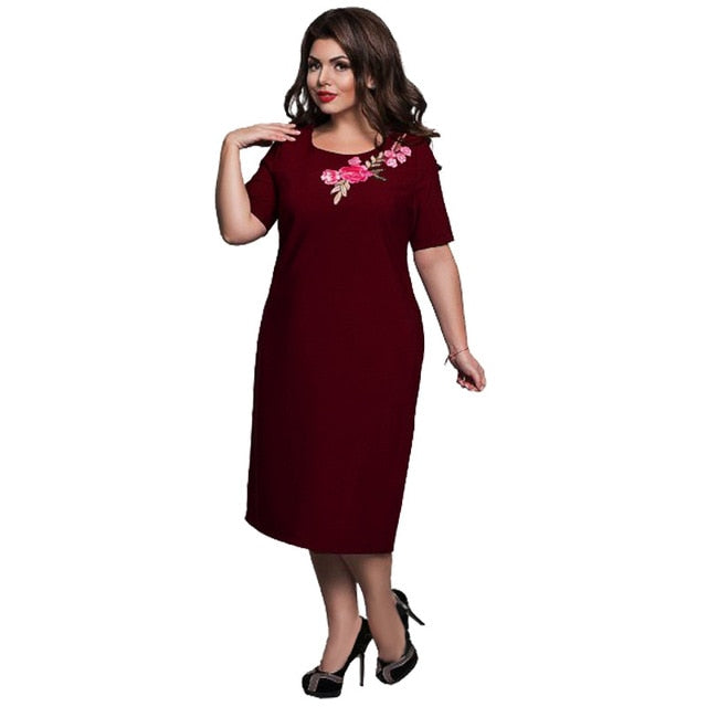 6XL Elegant Ladies Women Dress Fashion Sexy Party Plus Size