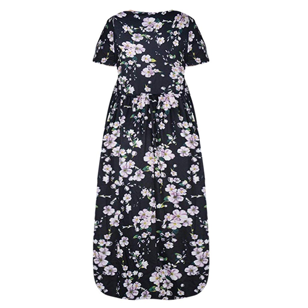 Women's Printed short-sleeved Dress Loose Summer Dresses Plus Size