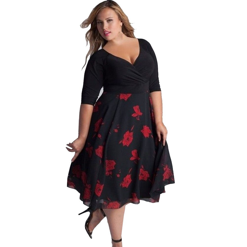 3XL Elegant Ladies Women Beach Dress Fashion Sexy Party Plus Size