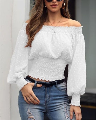 2020 New Women Blouse Off Shoulder Long Sleeve Shirts Fashion