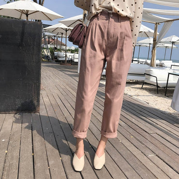 Women Spring Autumn High Waist Wide Leg Pants casual
