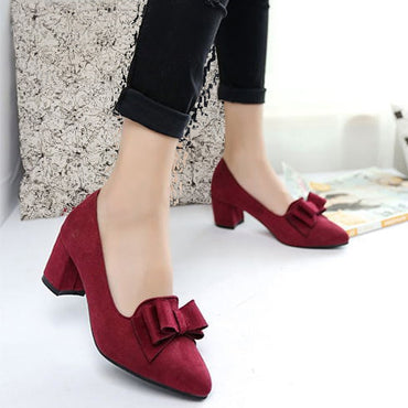 Women 's Shoes Suede Thick High Heels Fashion Casual