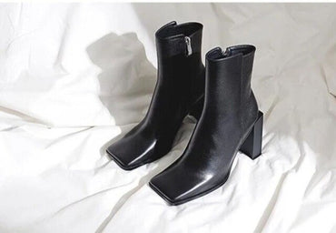 Western Punk Autumn Winter strange High Heel Black Leather Square Toe