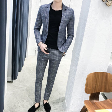 British style suit two-piece suit (coat + pants) men blazer