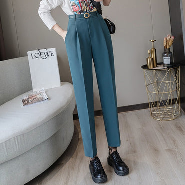 Spring Winter Women Pants High Waist Loose Formal Elegant Office Lady