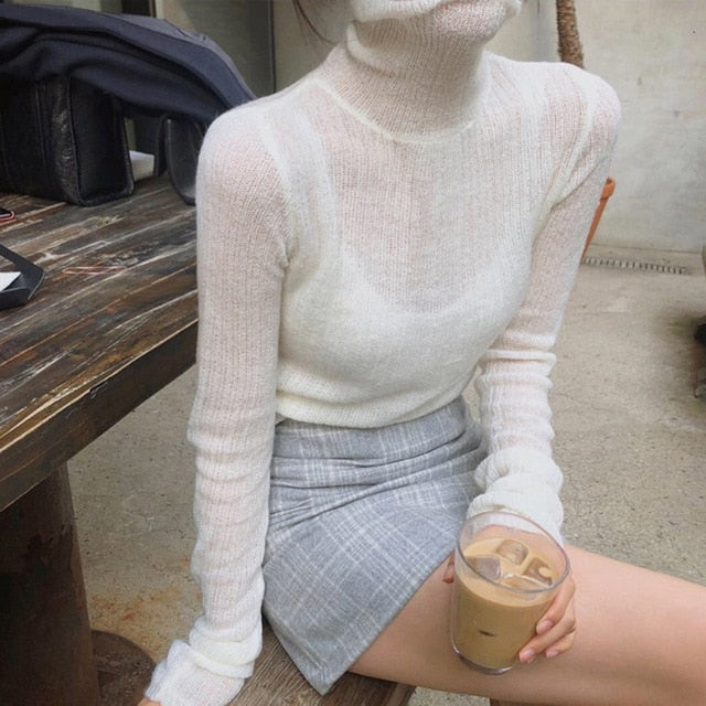 White Korean Knitted Sweater For Women Turtleneck Long Sleeve
