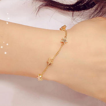 Bangle Simple Gold Filled Chic Trendy Stars Shape Bracelet For Women
