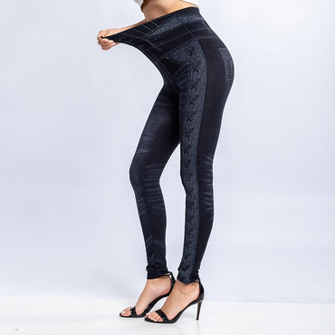 New Fashion Slim Women Leggings Faux Denim Jeans Fitness Elastic Seamless