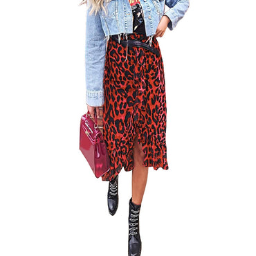 Womail Skirt Women Summer Leopard Print Vintage Long
