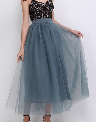 New Arrival Puffy Maxi Skirt Tulle Skirt Long Elastic Womens High Waisted