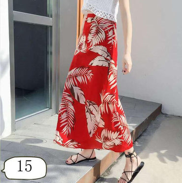 New one-piece skirt women summer chiffon wrap skirt long floral beach skirt