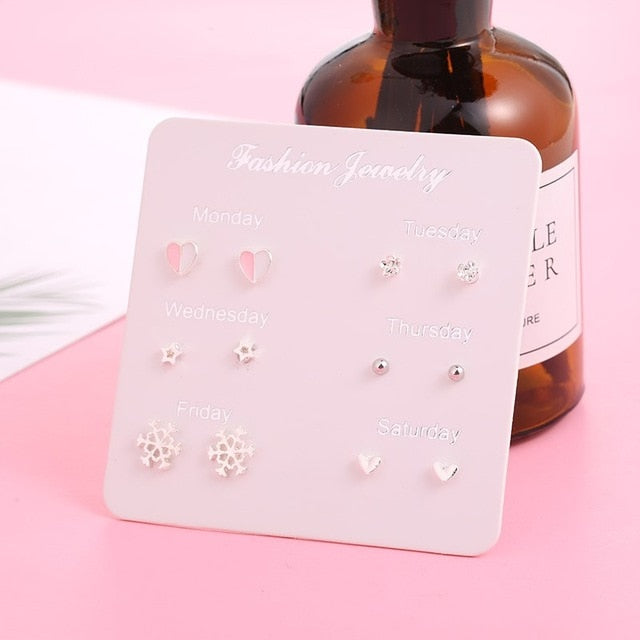 New Earrings for Women Stars Heart Crytal Cute Earrings Fashion