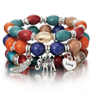 New Design 3 Layers Beaded Charms Bracelet Silver Elephant Pendant Chain